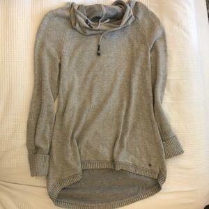 Gray High-Low Tunic Sweater with Cowl Neck XS